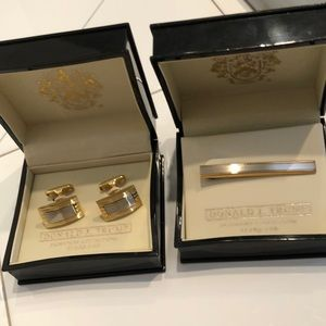 Cuff links and tie clip